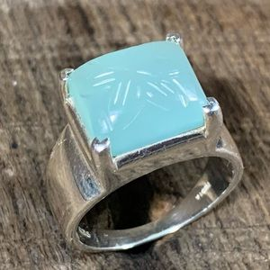 925 India Sterling Silver Carved Stone Ring